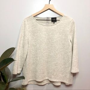 W5 3/4  sleeve cream top with back zipper